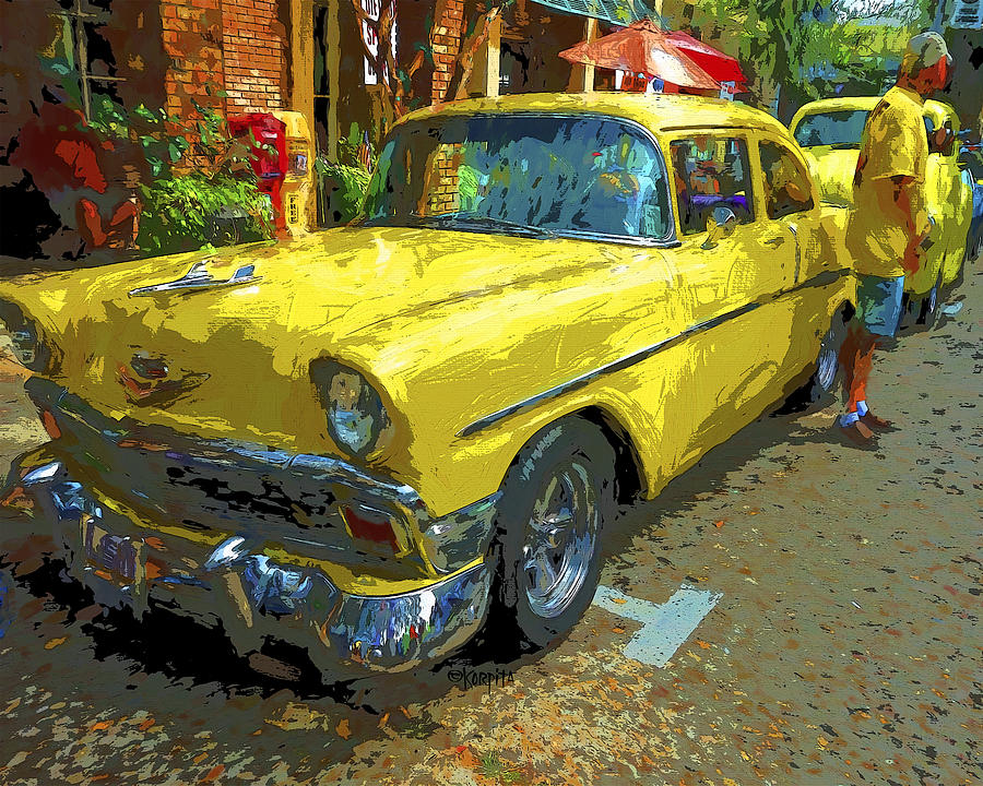 Old Cars Photograph - Classic 56 Chevy Car Yellow  by Rebecca Korpita