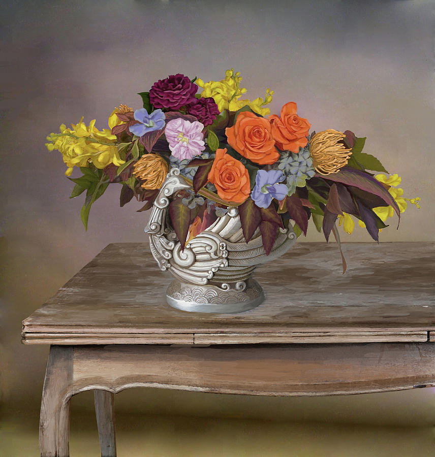 Charmant Antique Digital Art   Classic Art Of Steel Flower Vase On An Antique Wooden  Table By