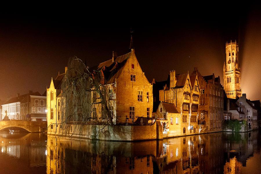 Belgium Photograph - Classic Bruges at night by Paul Indigo