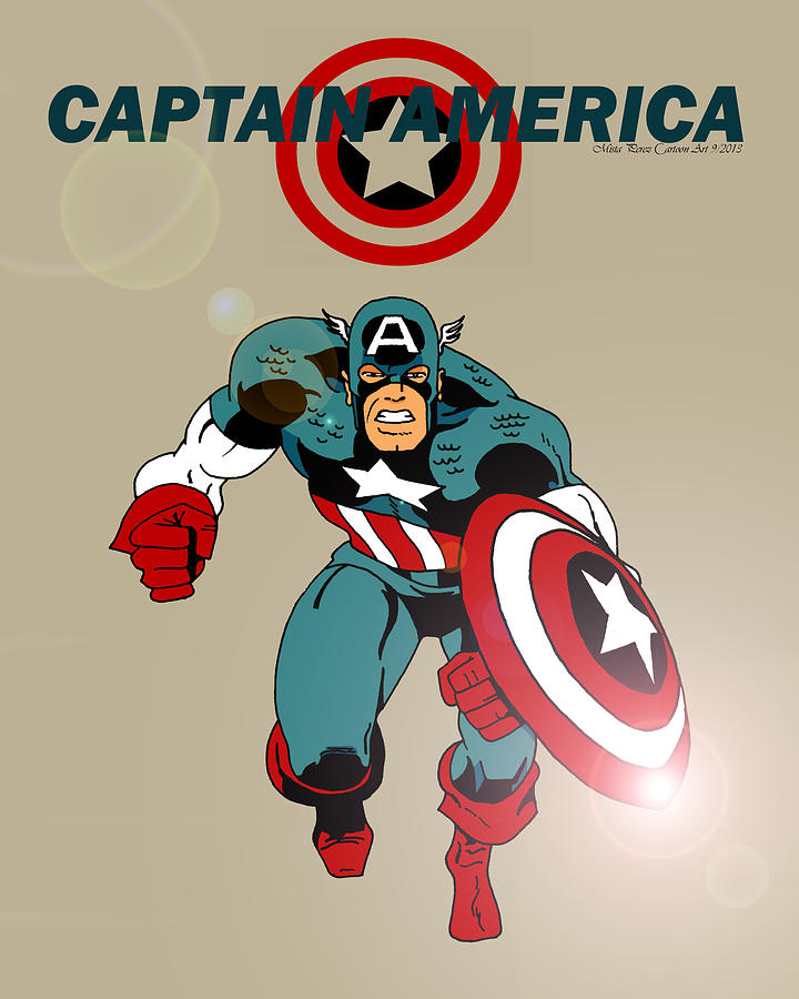 Captain America Drawing - Classic Captain America by Mista Perez Cartoon Art