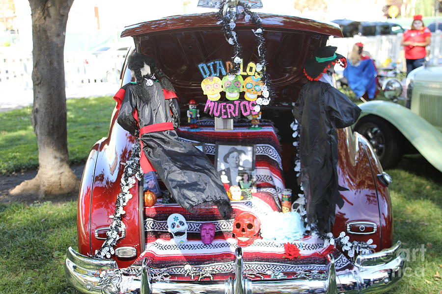 Dia De Los Muertos Photograph - Classic Car Decor Day Of The Dead  by Chuck Kuhn