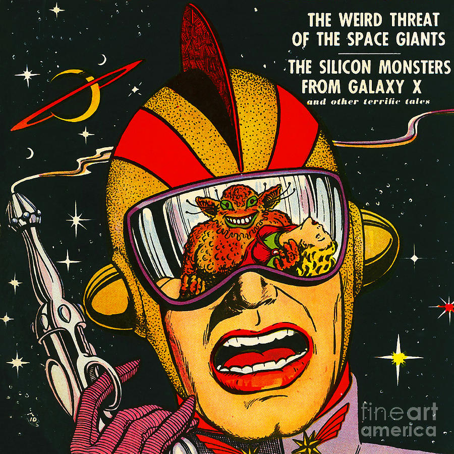 Vintage Comic Book Cover Art : Classic comic book cover space action august square
