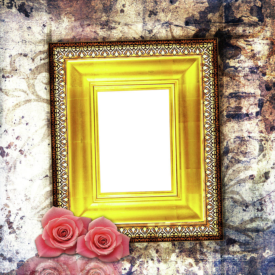 Classic Golden Frame With Pink Rose On Grunge Wallpaper Photograph ...