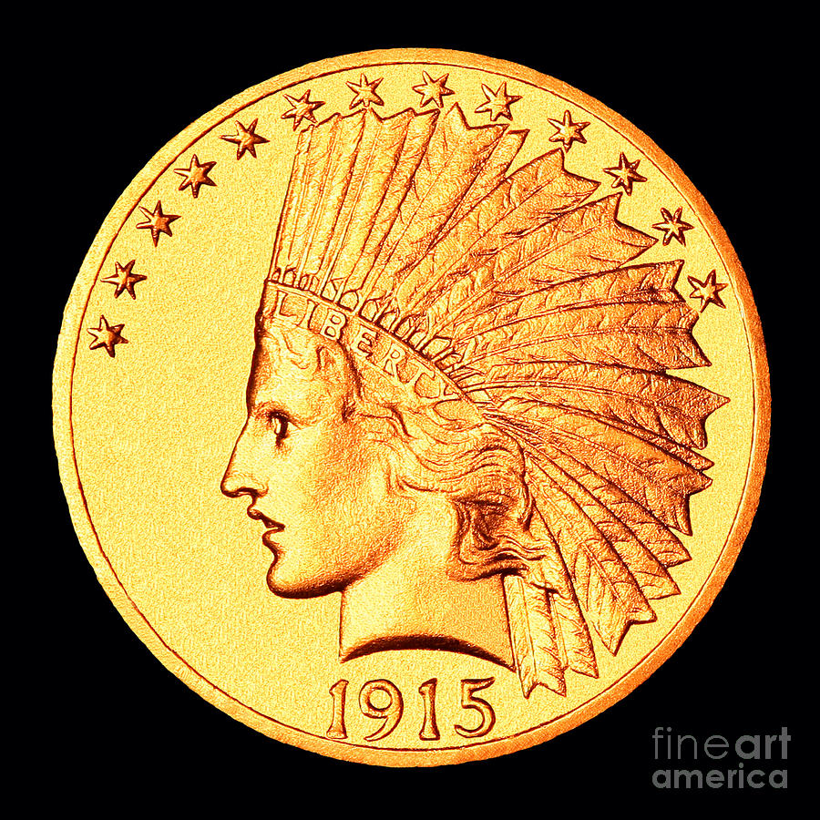 Coin Photograph - Classic Indian Head Gold by Jim Carrell