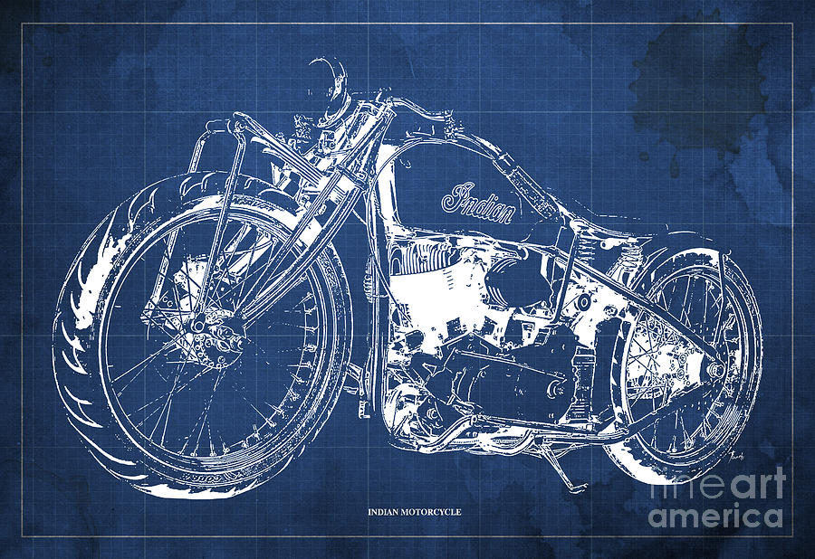 Classic indian motorcycle blueprint digital art by pablo franchi indian chief digital art classic indian motorcycle blueprint by pablo franchi malvernweather