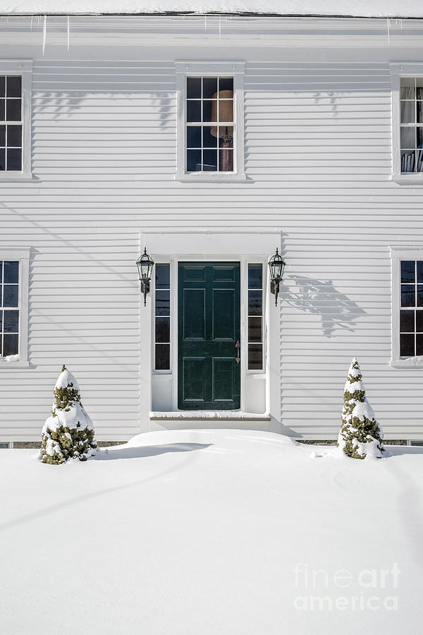 Season Photograph - Classic New England Wood Framed Colonial Home In Winter by Edward Fielding