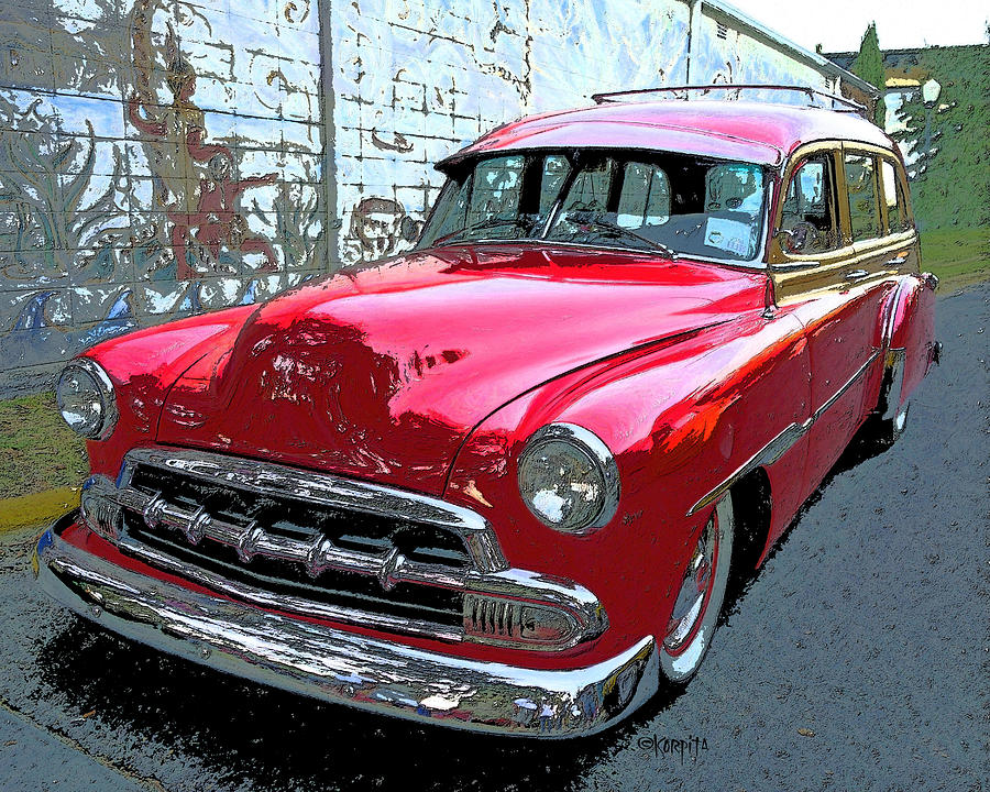 Classic Red Chevy Woody Station Wagon Photograph by Rebecca Korpita