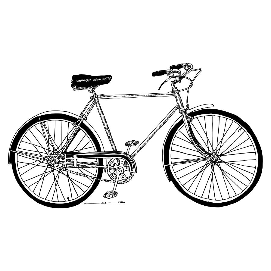 Drawing Drawing - Classic Road Bicycle  by Karl Addison