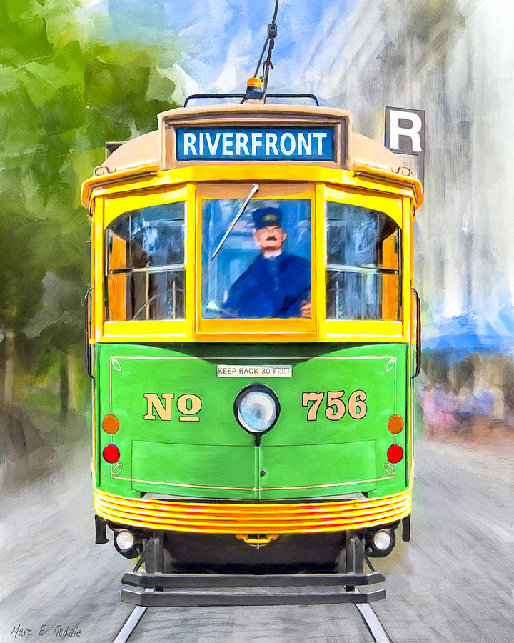 Savannah Mixed Media - Classic Streamline Streetcar - Savannah Riverfront by Mark Tisdale