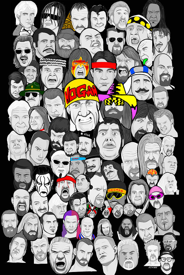Wrestling Painting - Classic Wrestling Superstars by Gary Niles