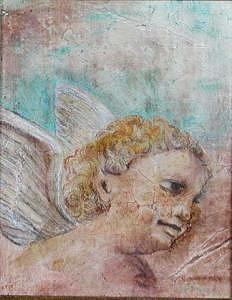 Child Angel Painting - Classical Angle In The Clouds   A Nouveau-fresco Painting by Judy Loper