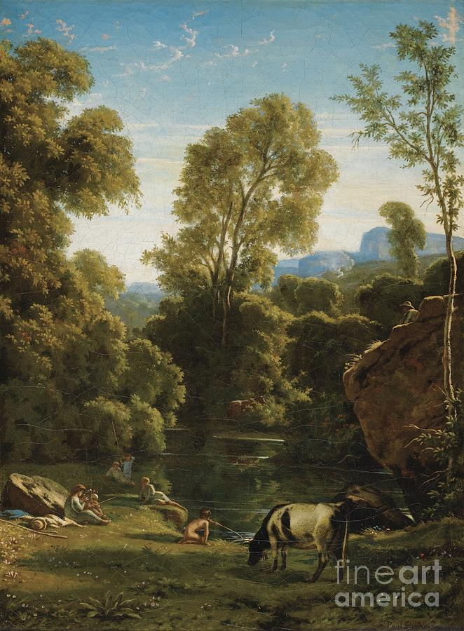 Classical Landscape With Figures By A Lake Painting by Celestial Images