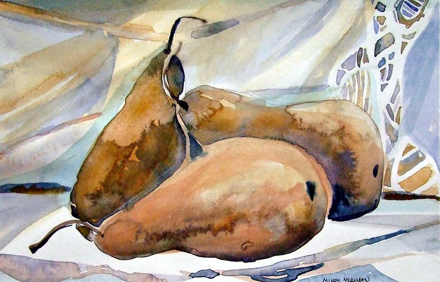 Watercolor Painting - Classical Pears by Mindy Newman