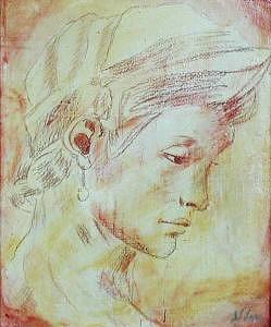 Conte Painting - Classical Portrait   Inspired By Michelangelo  by Judy Loper