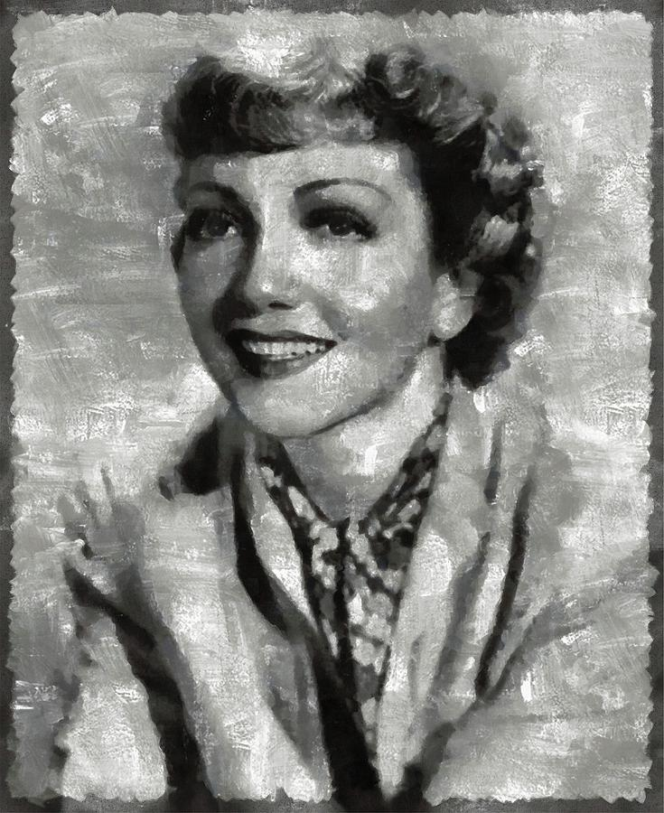 Claudette Painting - Claudette Colbert Vintage Hollywood Actress by Mary Bassett