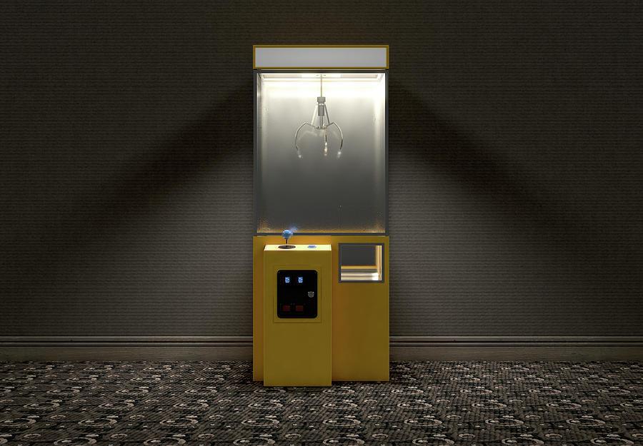 Claw Digital Art - Claw Arcade Game In Room by Allan Swart