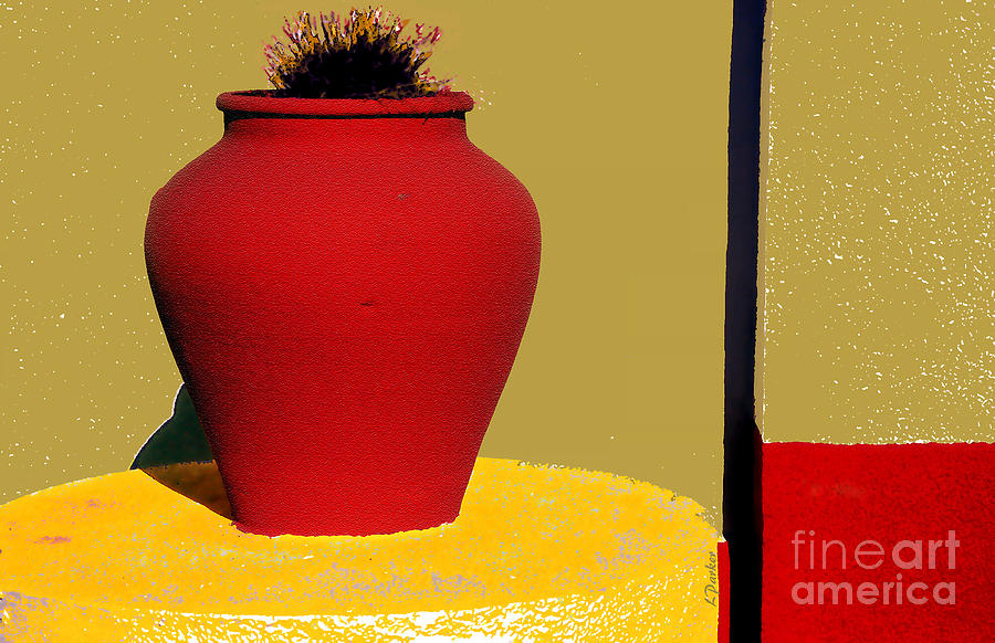 Red Photograph - Clay Pot In Red by Linda  Parker