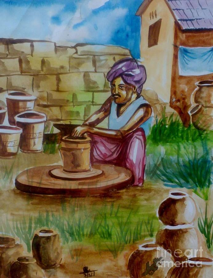Clay pot maker painting by akhilkrishna jayanth for Clay mural making