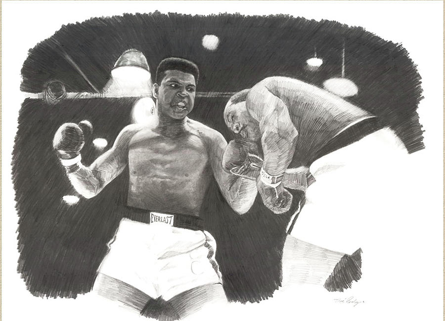 Boxing Drawings Drawing - Clay Vs Liston 1 by Noe Peralez