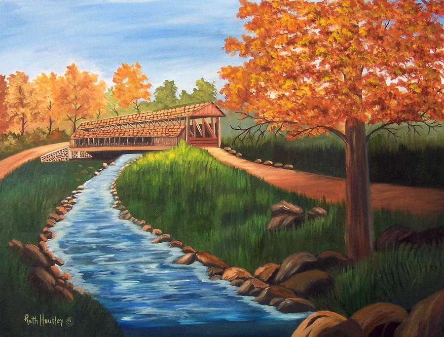 Landscape Painting - Claycomb Covered Bridge Sold by Ruth  Housley