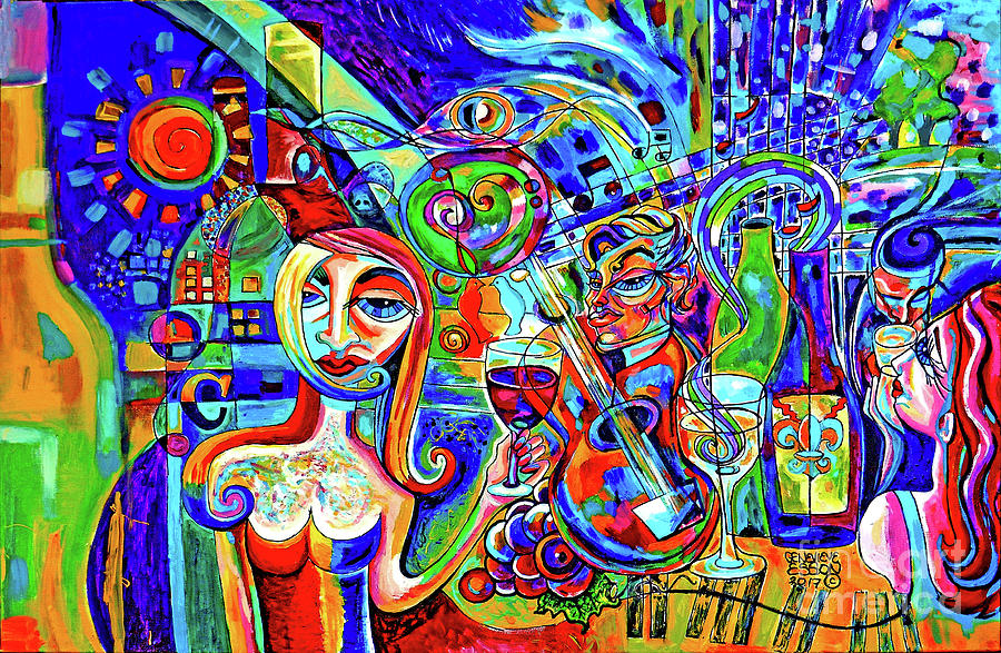 Wine Painting - City At Night Music And Wine Abstract by Genevieve Esson