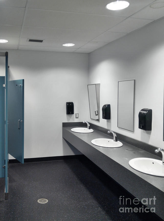 Clean Simple Public Washroom Sinks Toilet Stalls Photograph By