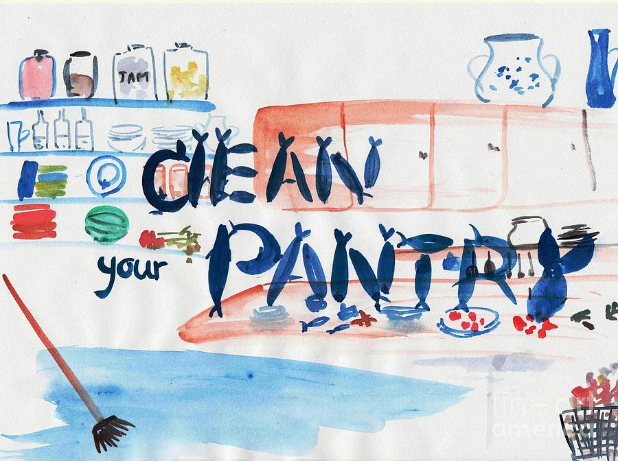 Wall Decor Painting - Clean Your Pantry by Sweeping Girl