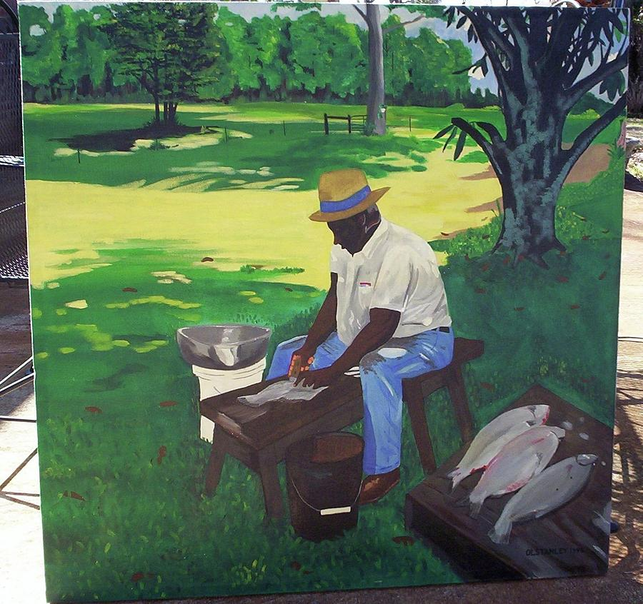 Cleanin Buffalos Painting by Otis L Stanley