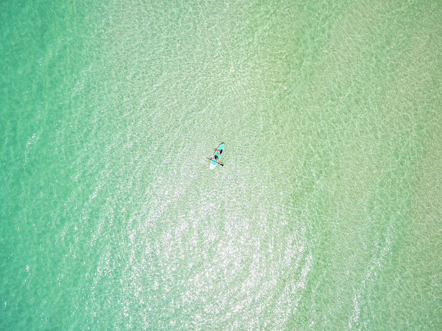 Clear Gulf Paddle Board Aerial by Kurt Lischka