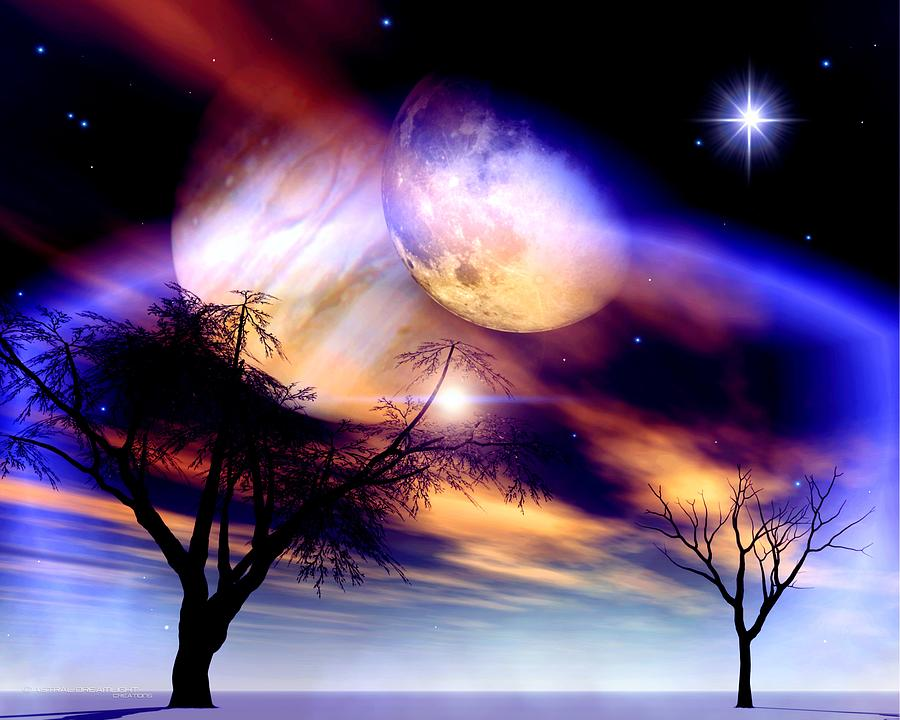 Beautiful Digital Art - Clear Night by Dreamlight  Creations
