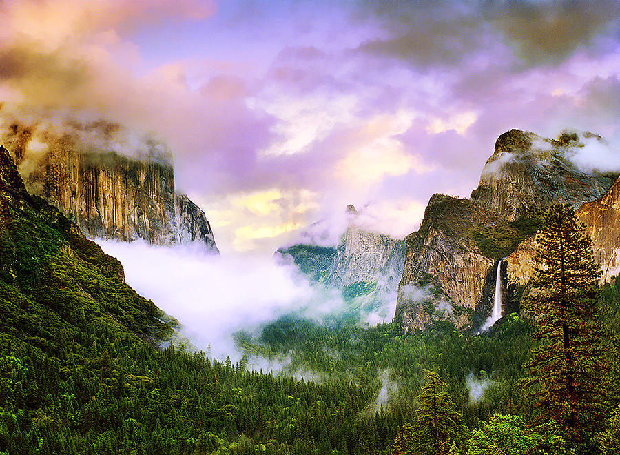 Waterfall Photograph - Clearing Storm Over Yosemite Valley by Edward Mendes