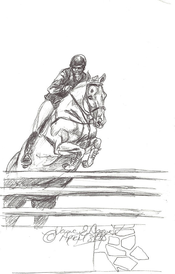 White Horse Drawing - Clearning The Wall by Nancy Degan
