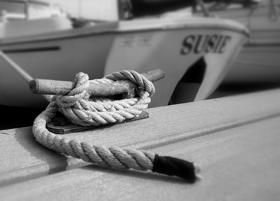 Cleat Hitch Photograph - Cleat Hitch Boat Art by Stephanie McDowell