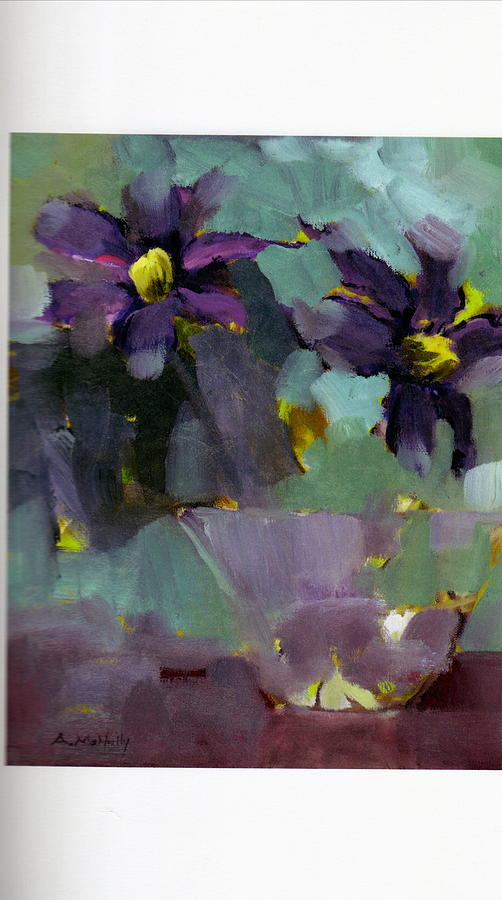 Abstract Floral Painting - Clematis In Glass by Anne McNally