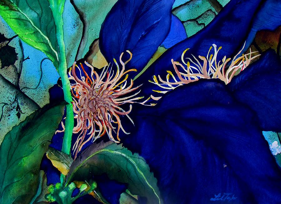 Lil Taylor Painting - Clematis Regal In Purple And Blue Sold by Lil Taylor