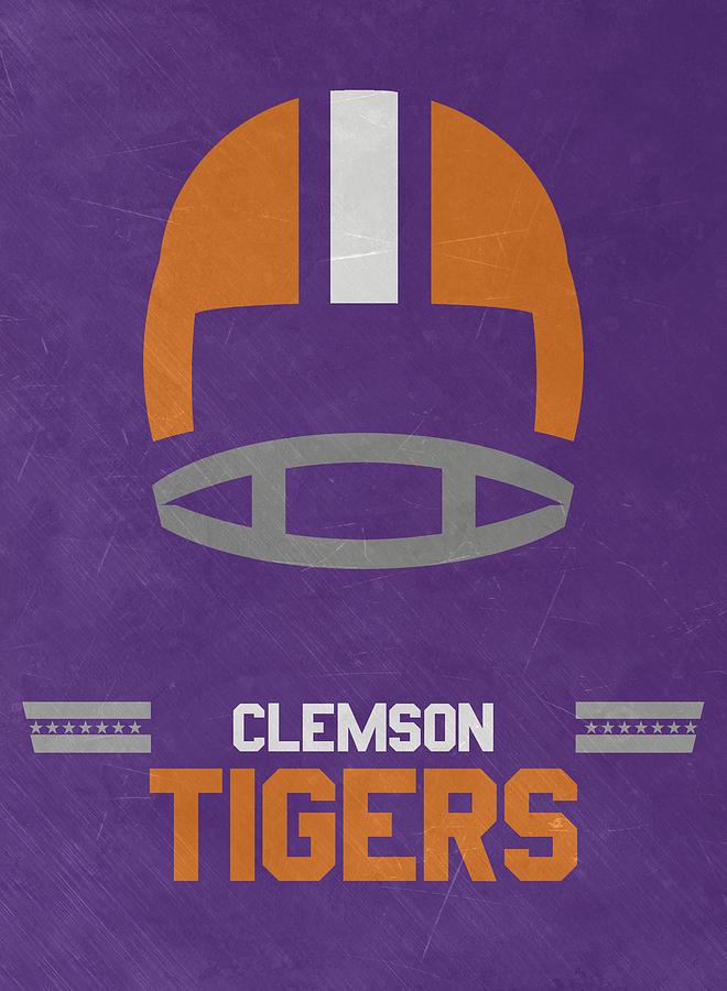 Tigers Mixed Media - Clemson Tigers Vintage Football Art by Joe Hamilton