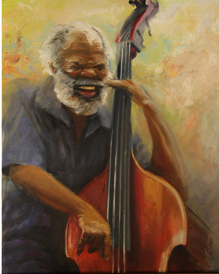 Oil Painting Painting - Cleve Playing The Jazz by Jill Holt