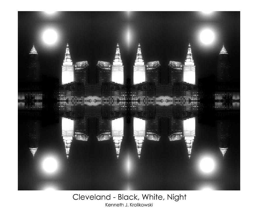 Cleveland  Black White Night Photograph
