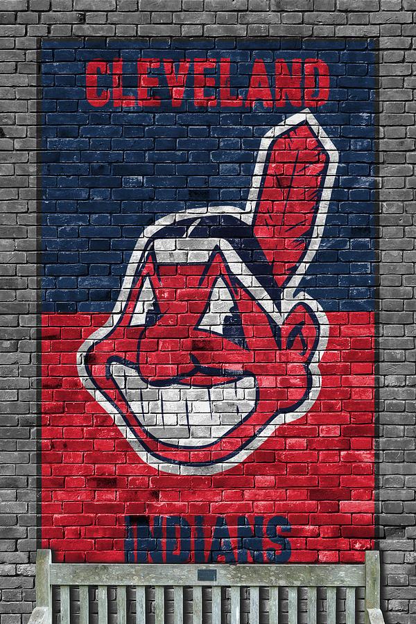 Indians Painting - Cleveland Indians Brick Wall by Joe Hamilton