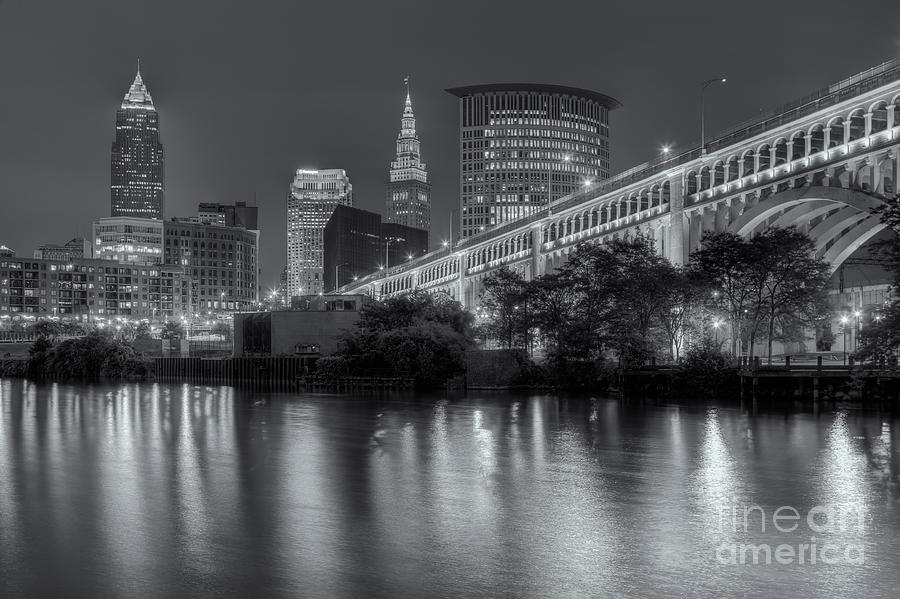 America Photograph - Cleveland Night Skyline IIi by Clarence Holmes
