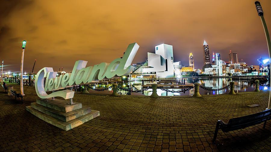 Cityscape Photograph - Cleveland Sign At Voinovich Park by Alex Farmer