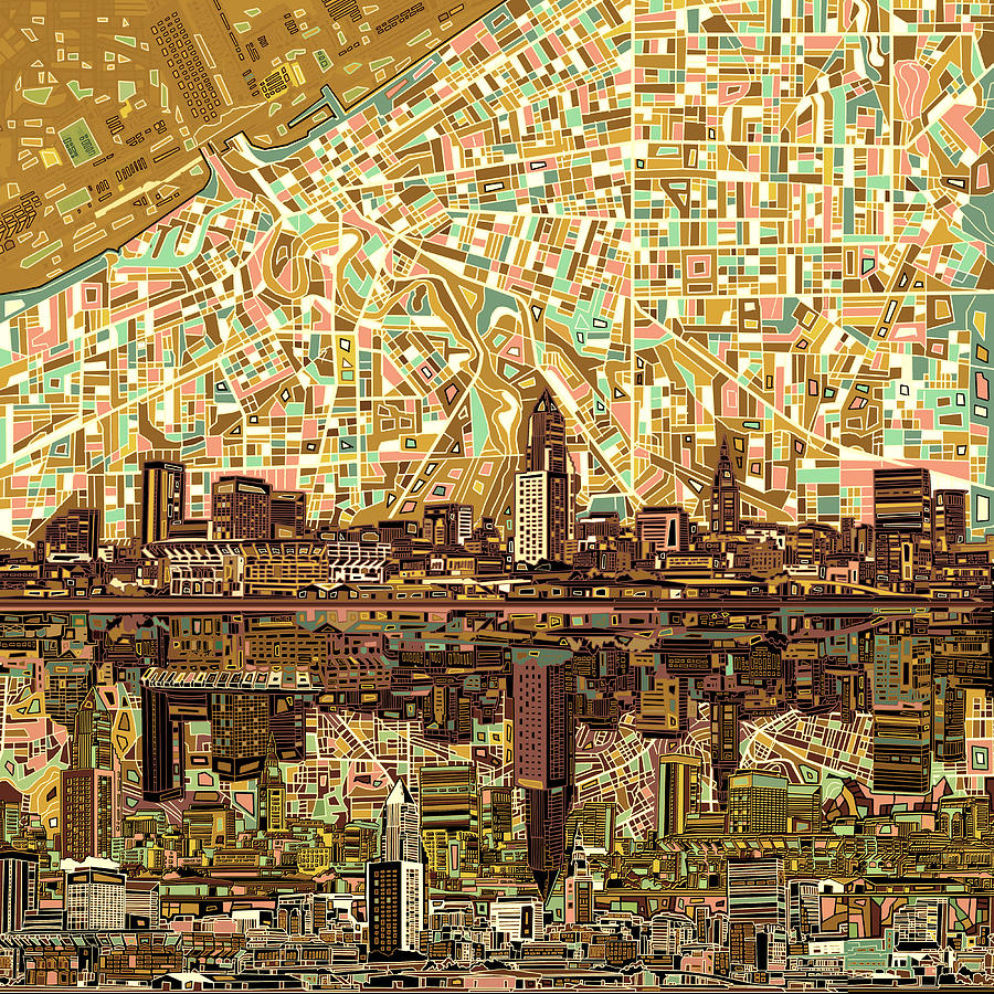 Cleveland Skyline Abstract 6 Painting by Bekim Art