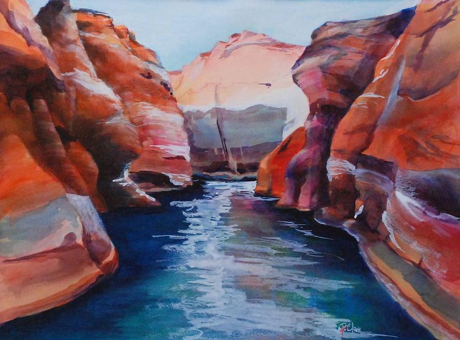 Orange Painting - Cliff Tapestries by Donna Pierce-Clark