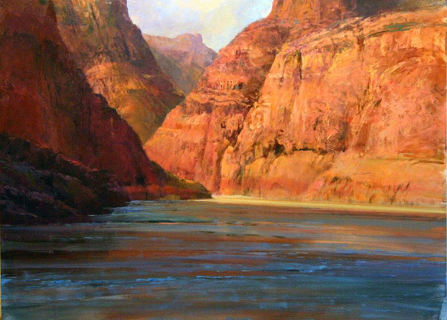 Cliffs Along The Colorado River Painting by Gil Dellinger