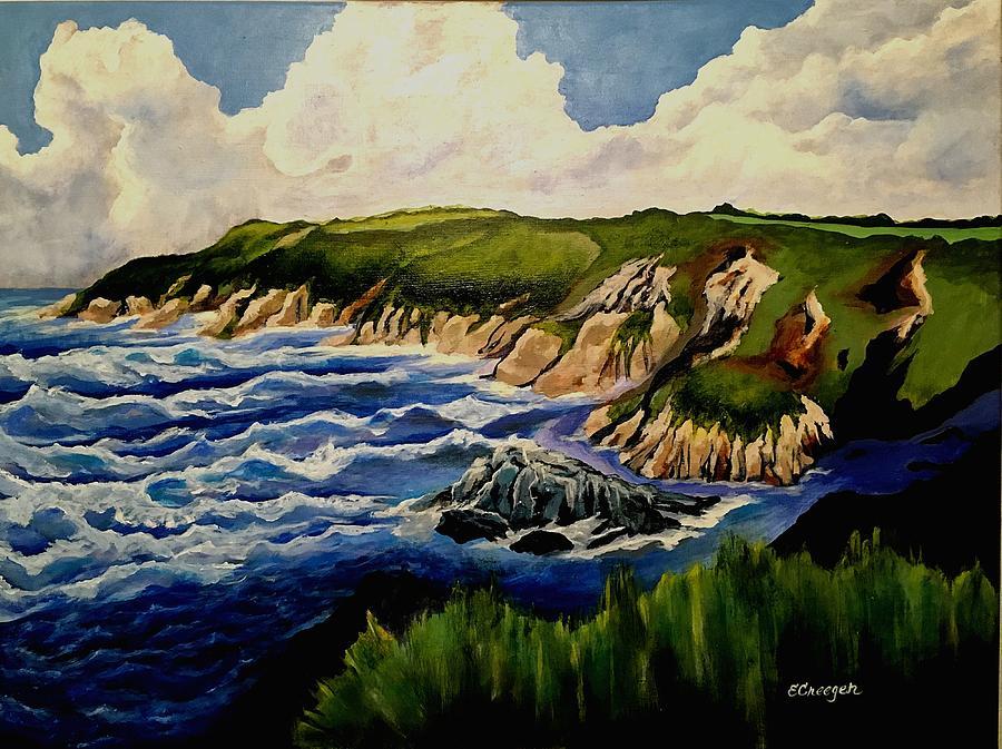 Cliffs and Sea by Esperanza J Creeger