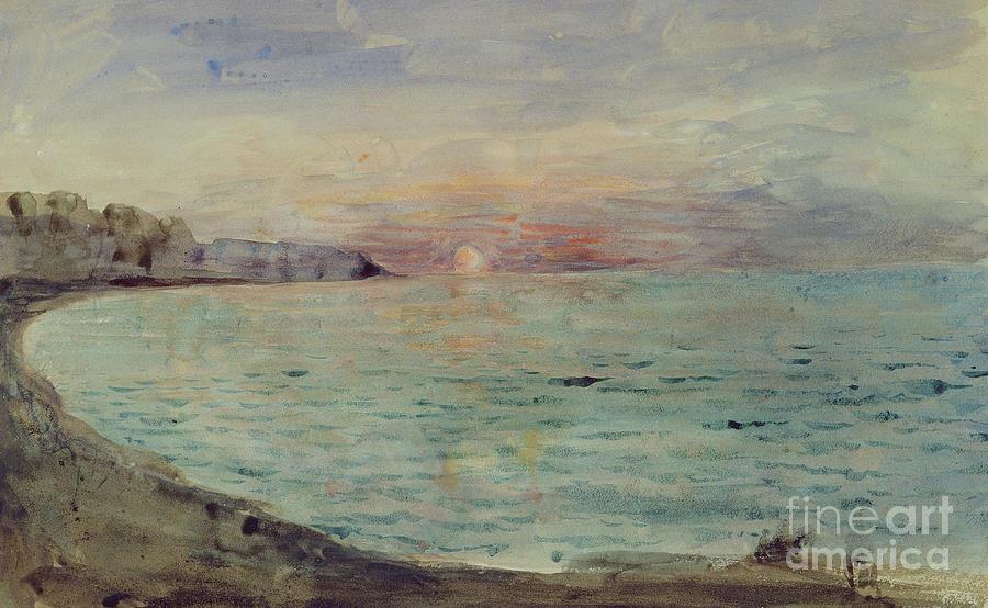Watercolor Painting - Cliffs near Dieppe by Ferdinand Victor Eugene Delacroix