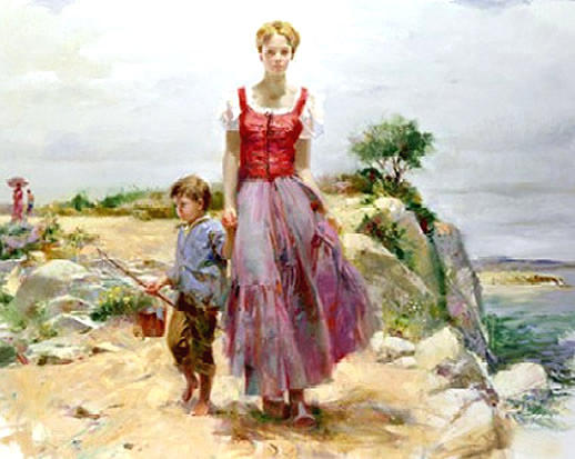 Mother & Son Painting - Cliffside Retreat by Pino Daeni