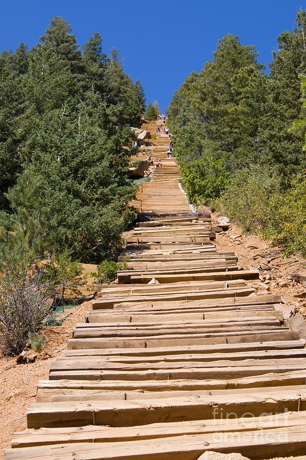 Climbers On Manitou Springs Pikes Peak Incline Photograph