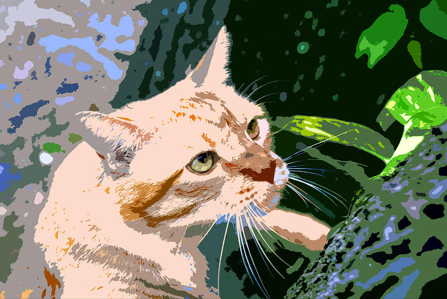 Feline Painting - Climbing Cat by David Lee Thompson