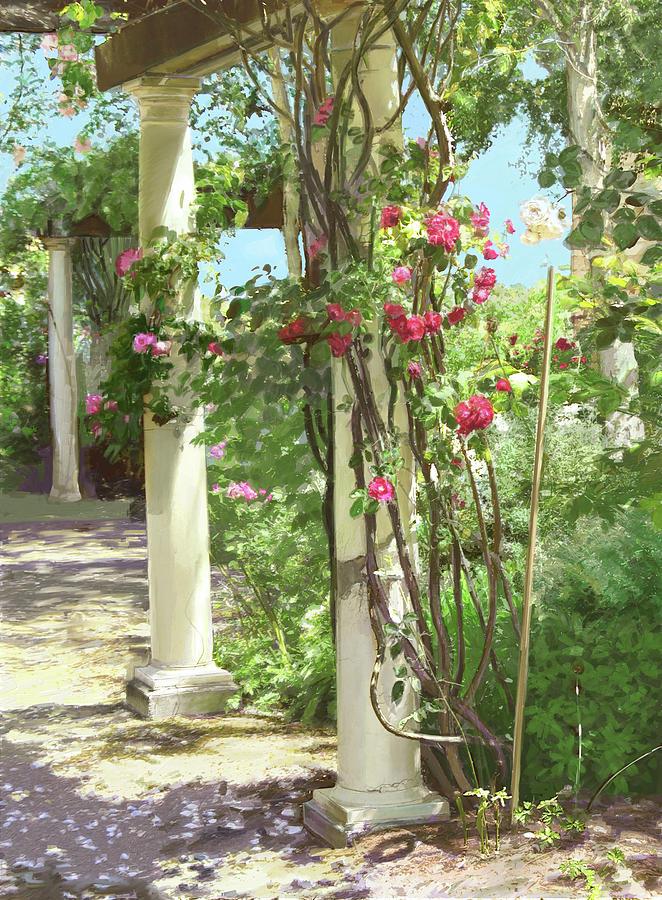 Roses Digital Art - Climbing roses by Dominique Amendola